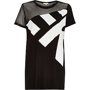 Black mesh panel side split t-shirt