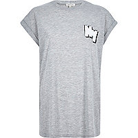 Grey NY badge boyfriend t-shirt