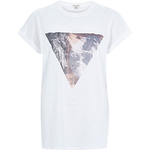 White triangle foil print oversized t-shirt