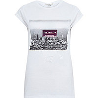 White Los Angeles print fitted t-shirt