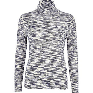 Blue jacquard roll neck top