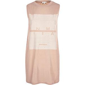 Pink minimal print sleeveless tank top