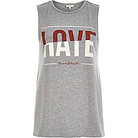 Grey love hate print tank top