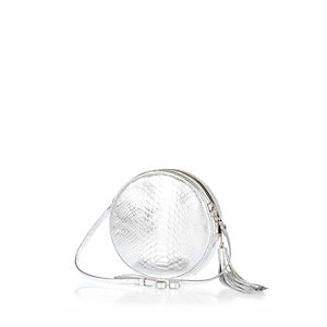 Silver croc leather circle bag