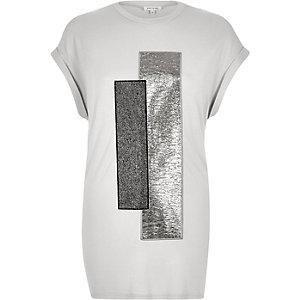 Grey metallic foil print oversized t-shirt