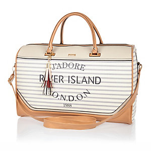 Cream stripe Paris print weekend bag
