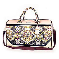Pink scarf print weekend bag