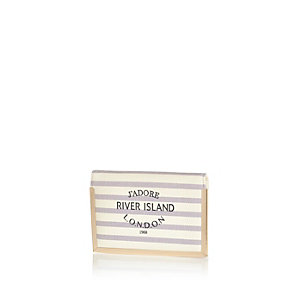 Cream stripe RI passport holder