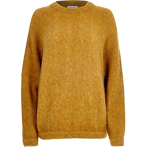 Yellow brushed wool-blend knitted jumper