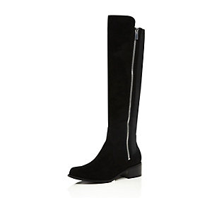 Black zip side knee high flat boots