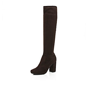 Dark brown knee high heeled boots