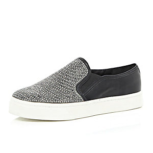Black embellished plimsolls