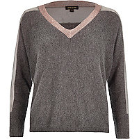 Grey knitted metallic trim V-neck jumper