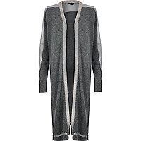 Grey knitted metallic trim cardigan