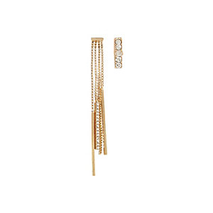 Gold tone asymmetric earrings pack
