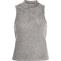 Grey sleeveless ribbed turtle neck top