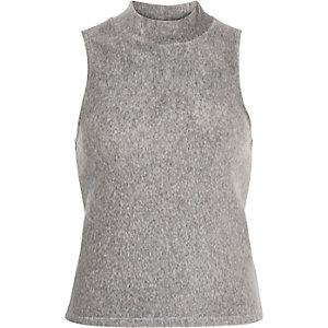 Grey sleeveless ribbed turtle neck top