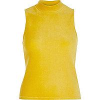 Dark yellow sleeveless ribbed turtle neck top