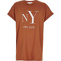 Orange NY print oversized t-shirt