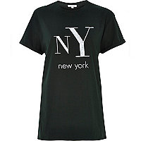 Green NY print oversized t-shirt