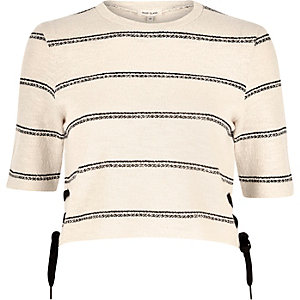 Cream stripe jersey lace side top