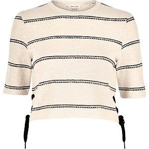 Cream stripe jersey lace side top