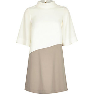 Cream roll neck swing dress