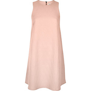 Pink textured sleeveless A-line dress