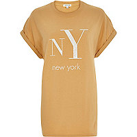 Yellow NY print oversized t-shirt
