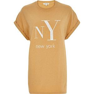 Yellow NY print oversized t-shirt