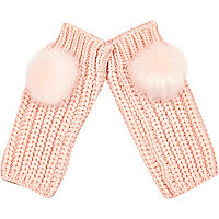 Light pink knitted pom pom hand warmers