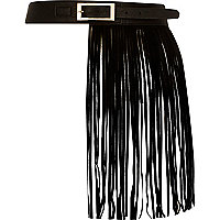 Black leather fringed belt