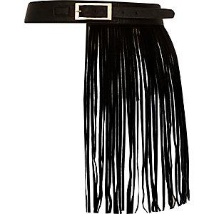 Black leather fringed belt