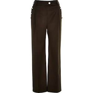 Khaki military button wide leg trousers