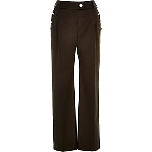 Khaki military button wide leg pants