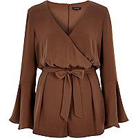 Brown smart 70s bell sleeve playsuit