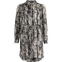 Black printed long sleeve shirt dress
