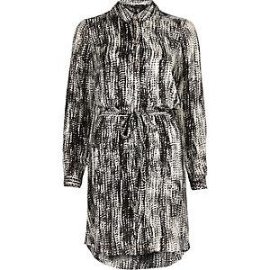 Black printed long sleeve shirt dress