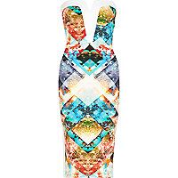 Blue graphic print bandeau pencil dress