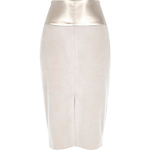 Grey faux suede split front pencil skirt