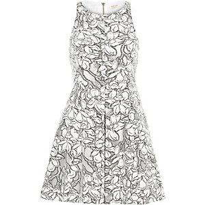 Grey organza floral lace skater prom dress