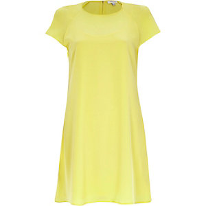 Yellow short sleeve swing dress