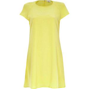 Yellow short sleeve swing dress