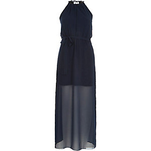 Navy blue sheer layer waisted maxi dress