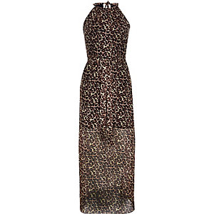 Brown leopard print waisted maxi dress