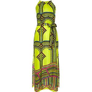 Lime green print waisted maxi dress