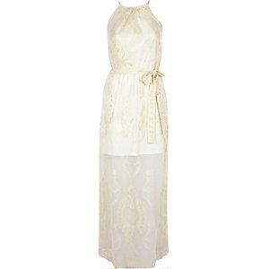 Cream lace layer waisted maxi dress