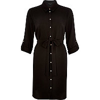 Black dipped back shirt dress