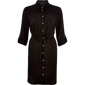 Black dipped back shirt dress