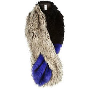 Blue faux-fur tippet scarf